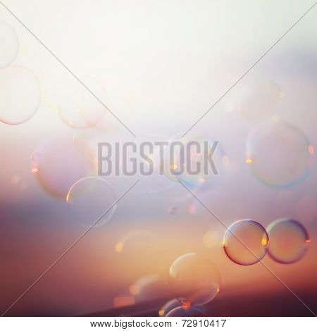 Tranquil Background With Soap Bubbles
