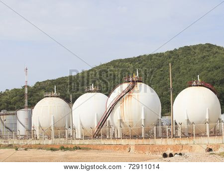 Lpg Gas Tank Storage In Petrochemical Heavy Industry Estate Use For Fuet Power And Energy Topic