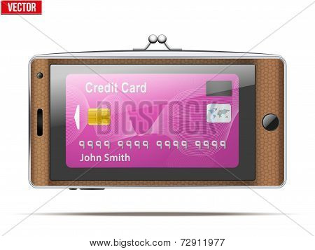 mobile phone in the form of a wallet. Electronic purse. Vector Illustration.