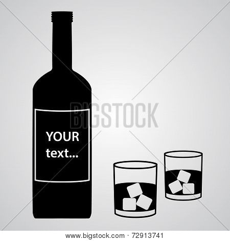 Alcohol Bottle And Two Black Glasses Eps10