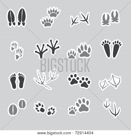 Basic Animal Footprints Stickers, Set Eps10