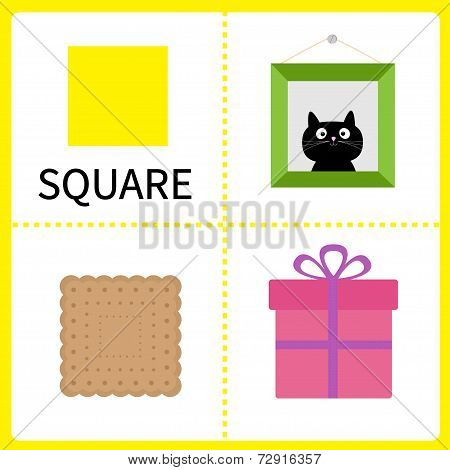 Learning Square Form. Frame Picture, Gift Box And Biscuit. Educational Cards For Kids. Flat Design.