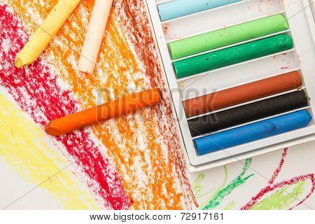 Crayon Box On Art Paper