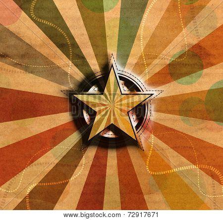 Star Symbol On Vintage Background