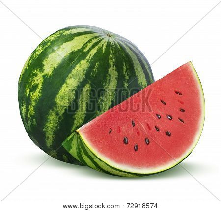 Whole Watermelon And Slice Isolated On White Background