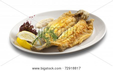 Fired Fish With Limon On White Background