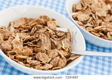 Two Dishes Of Delicious Bran Flakes