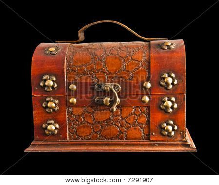 Old Brown Chest Isolated On A Black Background