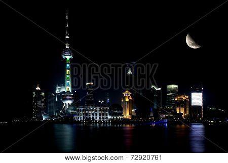 Shanghai Skyline By Night With Moon