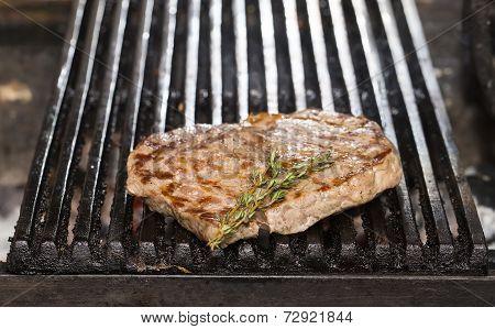 cooking a steak