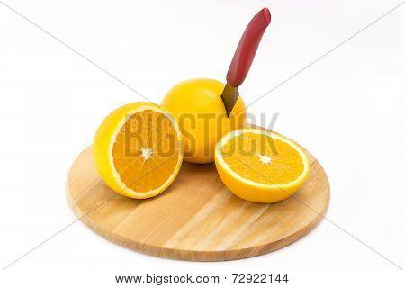 orange on cutting board