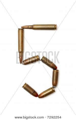 Number five made of cartridges isolated