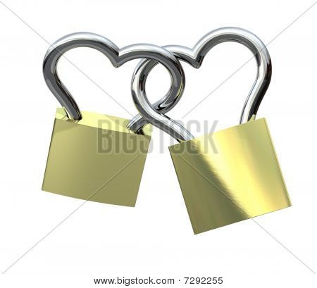 Locks - Heart Shaped, isolated