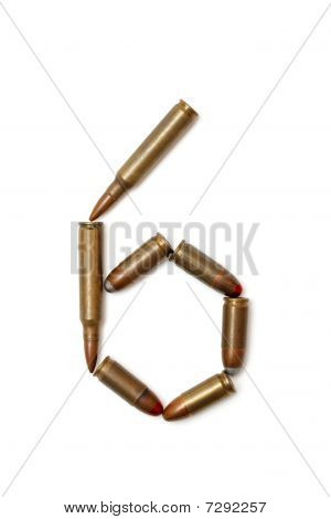 Number six made of cartridges isolated