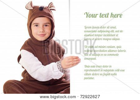 Cute Little Boy In A Bear Suit