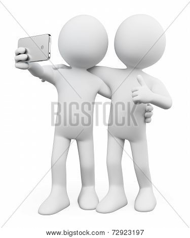 3D White People. Selfie With A Friend