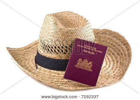 Straw Hat With European Passport.
