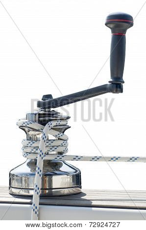 Winch With Line On White Background