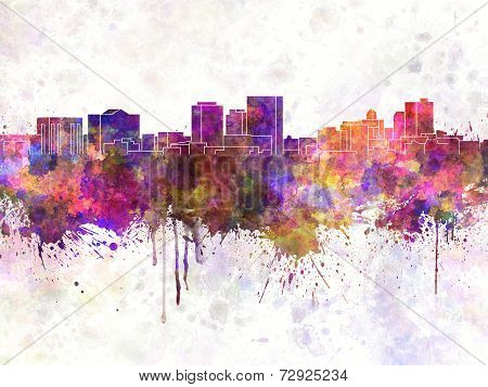 El Paso Skyline In Watercolor Background