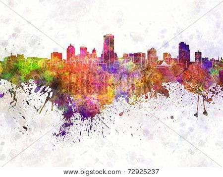 Milwaukee Skyline In Watercolor Background