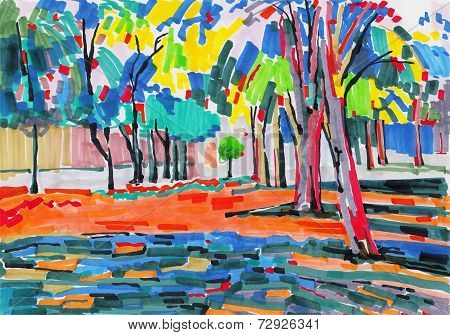 original unusual marker painting of tree landscape