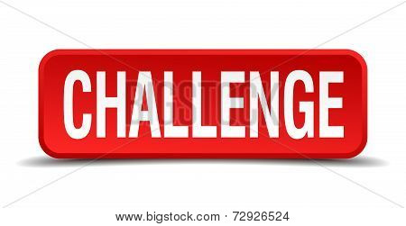 Challenge Red 3D Square Button On White Background