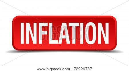 Inflation Red 3D Square Button On White Background