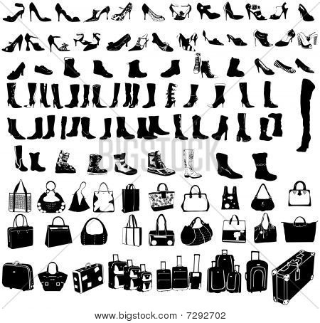 travel suitcase, shoes  and bags vector