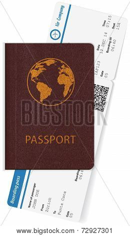 Passport and boarding pass isolated on white