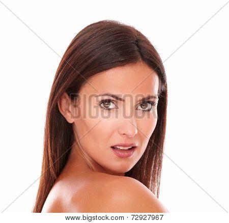 Attractive And Seductive Woman Looking At Camera