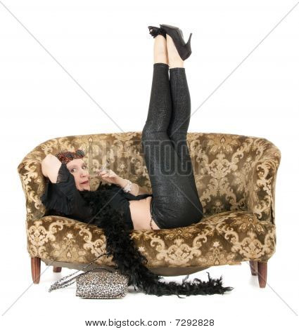 Hippie Woman On Sofa