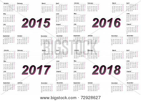 Set of european 2015, 2016, 2017 and 2018 year calendars