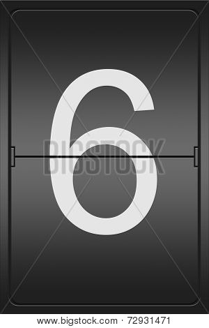 Number 6 On A Mechanical Leter Indicator
