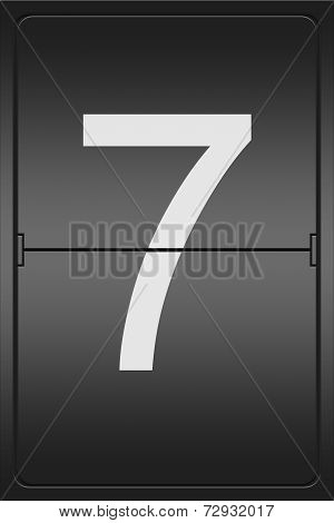 Number 7 On A Mechanical Leter Indicator