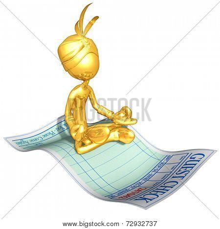 Gold Guy Djinn On Restaurant Guest Check Magic Carpet