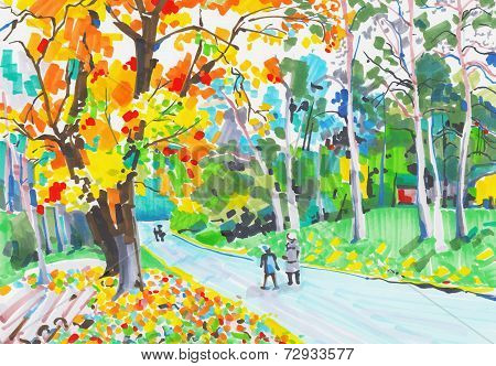 original unusual marker painting of landscape, fine art, vector