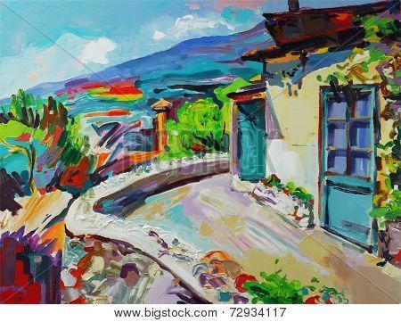 original art composition of summer landscape