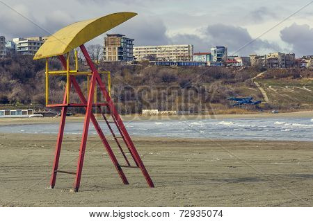 Abandoned Weathered Lifeguard Tower