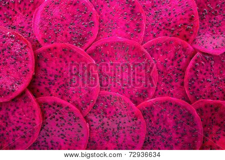 Beautiful Fresh Sliced Red Dragon Fruit  As Background, Pitaya Is The Plant In Cactaceae Family Or C