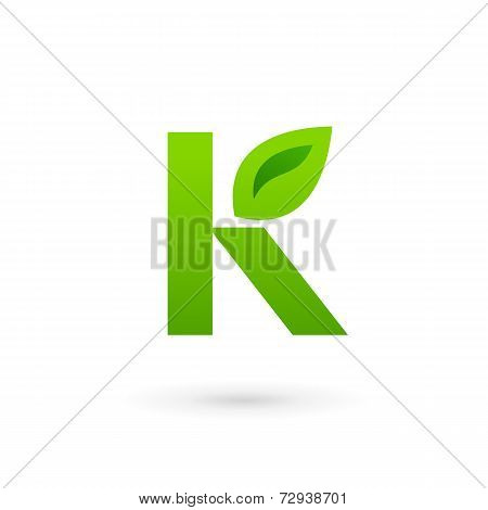 Letter K Eco Leaves Logo Icon Design Template Elements. Vector Color Sign.