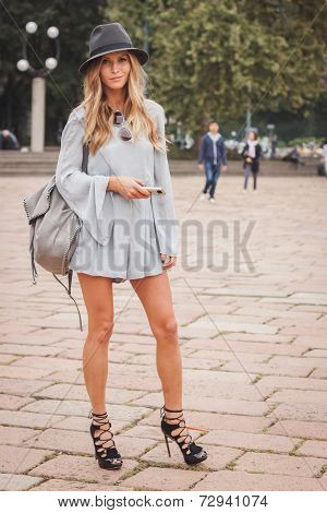 Woman Outside Cavalli Fashion Shows Building For Milan Women's Fashion Week 2014