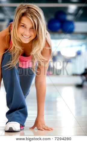 Gym Woman In Racing Position