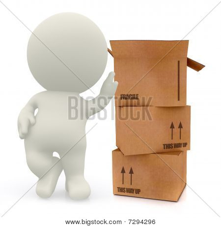 3D Man With Card Board Boxes