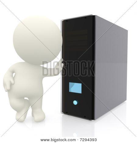 3D Man With Computer Server