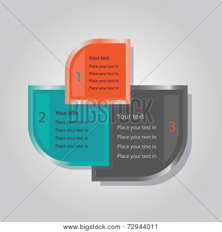 Abstract triple banners set on grey gradient background