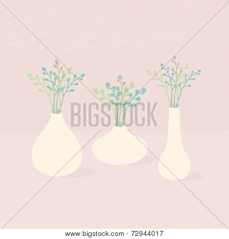 Set of different vases with wildflowers on pink textured background