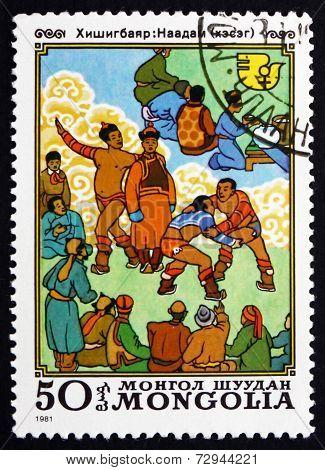 Postage Stamp Mongolia 1981 Wrestling, Mongolian National Sport