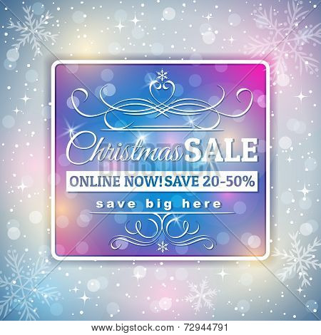 Grey  Christmas Background And  Label With Sale Offer, Vector