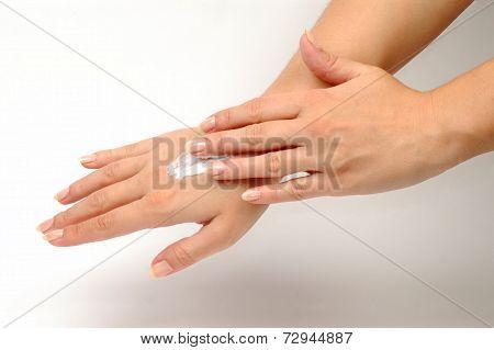 Hand Cream On Hand