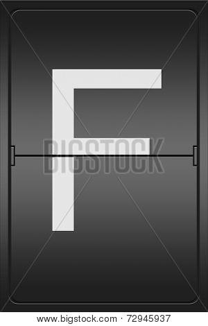 Letter F On A Mechanical Leter Indicator
